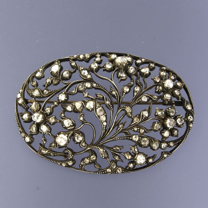 14k geel goud met zilver Z2 Silver, Yellow gold - Brooch - 2.50 ct Diamond