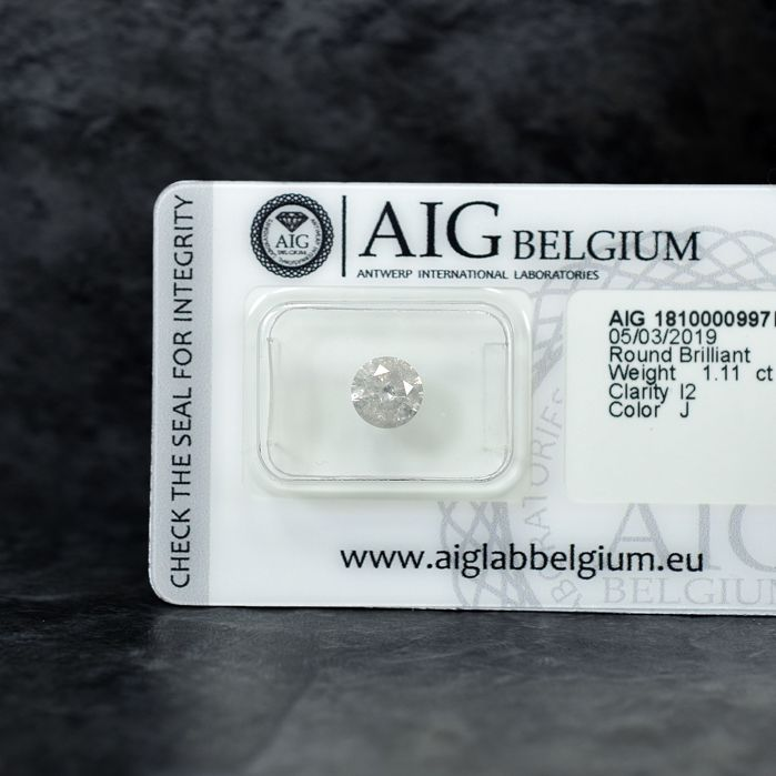 Diamond - 1.11 ct - Brilliant - J - I2 - NO RESERVE PRICE