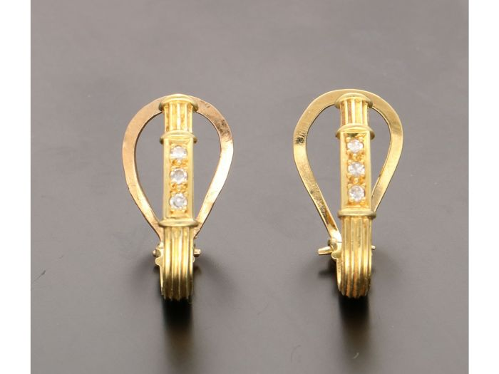 18 kt. Yellow gold - Earrings - 0.06 ct Diamond