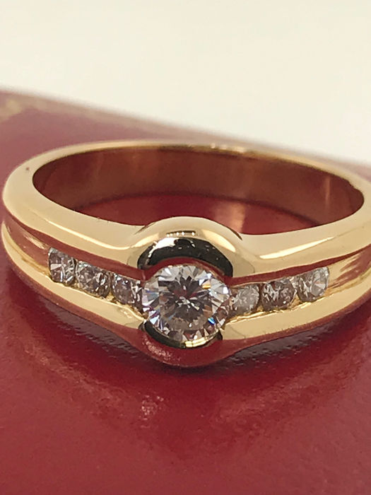 18 kt. Yellow gold - Ring Diamond total 0.60 CT's  - Diamonds