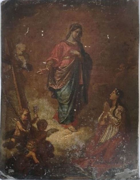 """Biblical subject"". Oil painting on plate - Metal - 18th century"