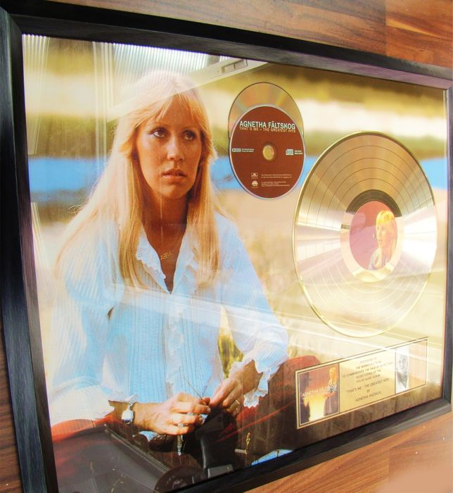 "ABBA - Agnetha ""Great Hits"" Gold 100,000 rare sales award - Official award - 1998/1999"