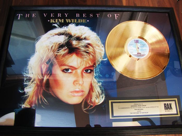 """Kim Wilde -  """"The very Best"""" Gold 100,000 rare sales award Special 24ct Gold - Official award - 1985"""