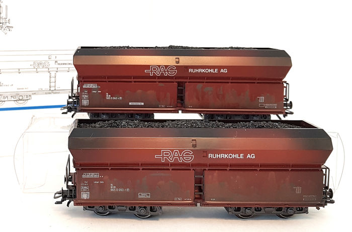 Märklin H0 - 46241 - Freight carriage - Two-part trolley set with self-looser 'RAG Ruhrkohle AG' - DB