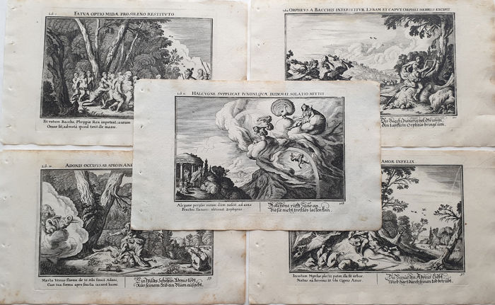 5 prints by Johan Wilhelm Bauer (1607-1640) - Collection prints, Various Myths from Ovid's Metarmorphoses