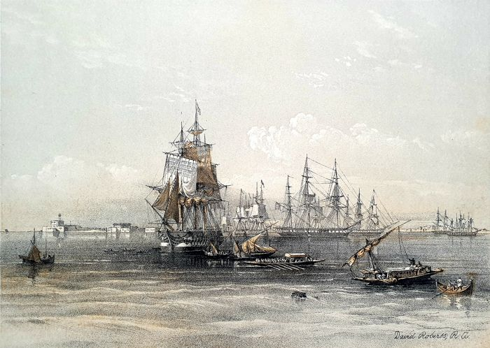 5 prints by David Roberts (1796 – 1864) - Approach to Alexandria, Ruins of Maharaka & other