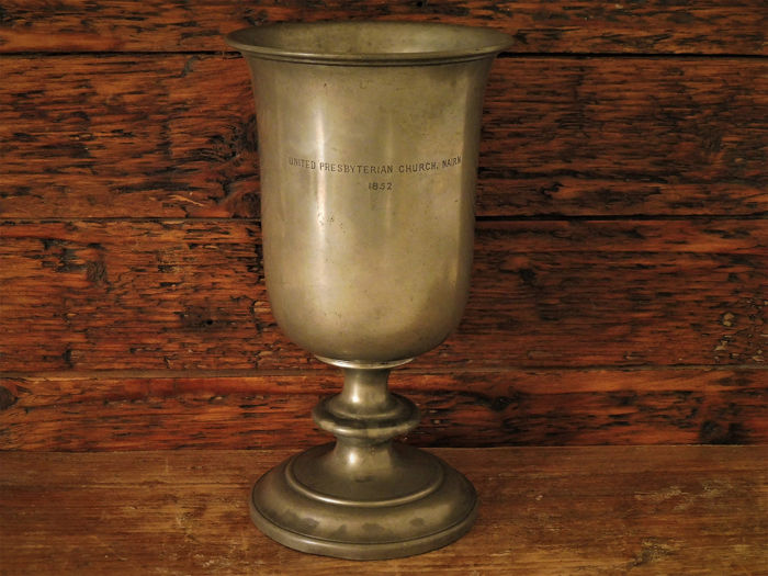 Church chalice with the text United Presbyterian Church Nairn 1852. (1) - Tin - 1852