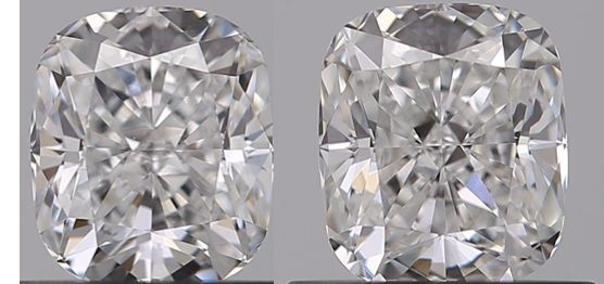 2 pcs Diamantes - 1.02 ct - Cojín - D (incoloro) - VS1, VVS1