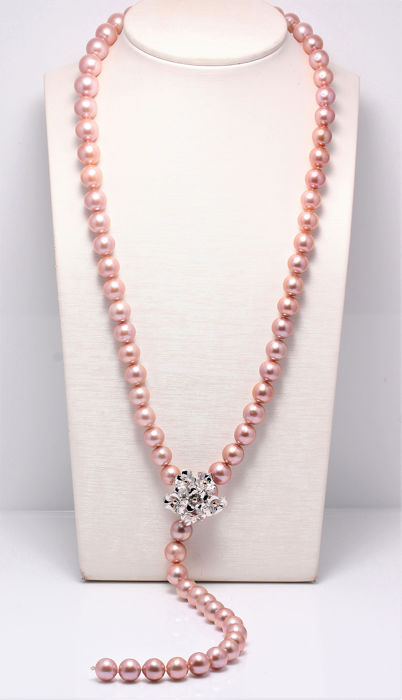 NO RESERVE PRICE - 925 Plata - 10.5x13mm Pink Edison Pearls - Collar