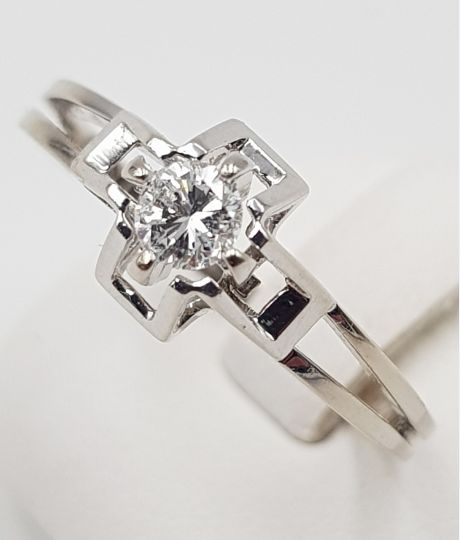 14 kt. White gold - Solitaire Ring - 585 Gold - 1 Diamond, 0.17 ct. - 0.17 ct Diamond