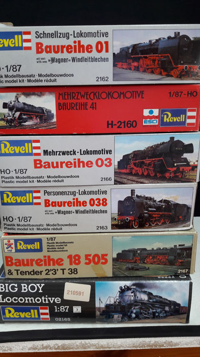 Revell H0 - Scenery - 6 building sets from famous Locs - DB, DR (DRB), DRG, Union Pacific Railroad
