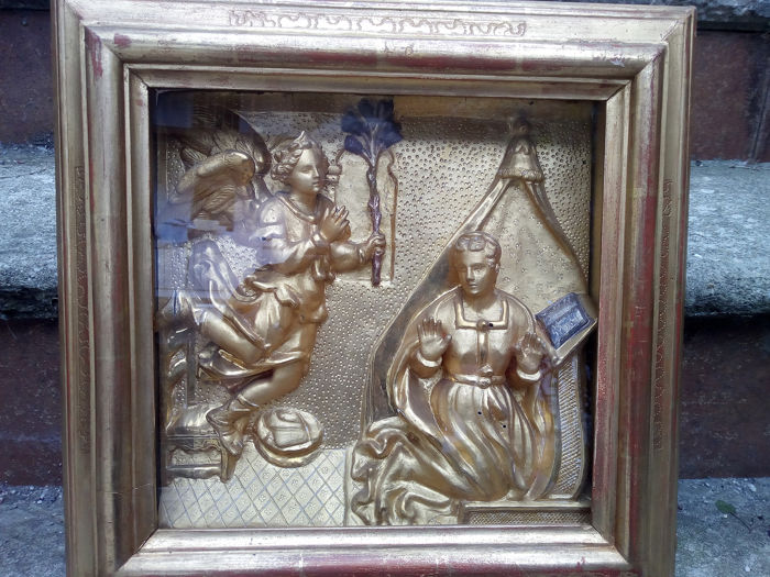 Sculpture, The Archangel Gabriel on a visit to Mary Elizabeth (1) - Wood - 19th century