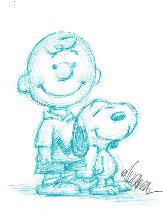 Snoopy & Charlie Brown - Peanuts - Original Sketch - Joan Vizcarra - Originele kunst