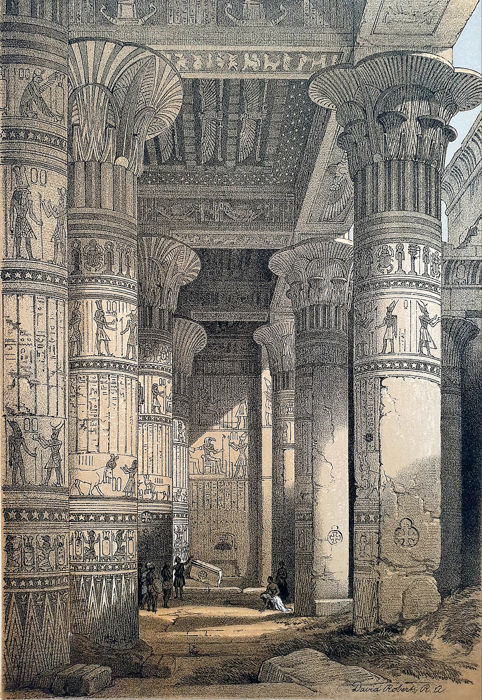 4 prints - David Roberts RA (1796 – 1864) - View under the Grand Portico Philoe & other
