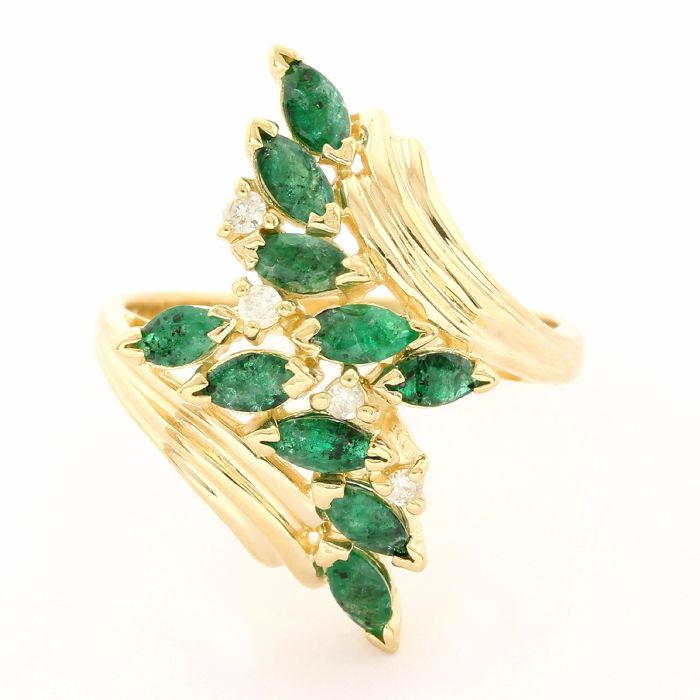 14 kt. Yellow gold - Ring - 1.00 ct Emerald - Diamond