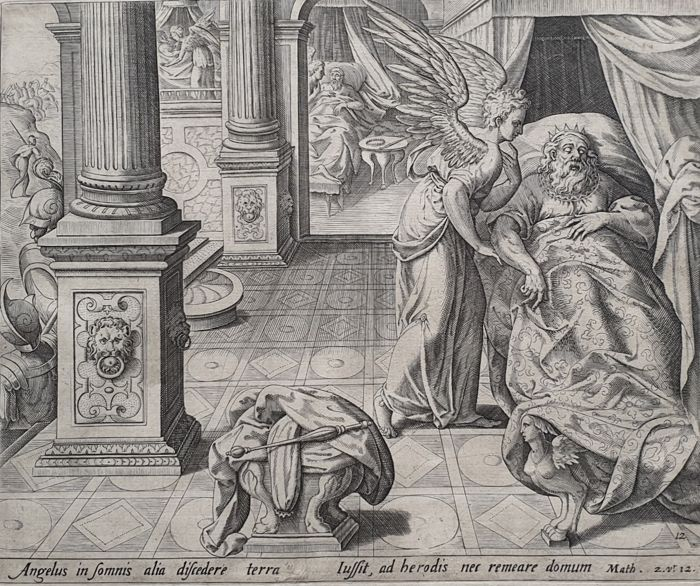Jan Sadeler (1550-1600) - Another angel in the dream to leave the country
