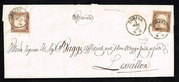 Sardaigne 1858 - 10 cents yellowish umber, two pieces on letter from Turin to Lesseillon - Sassone N. 14b