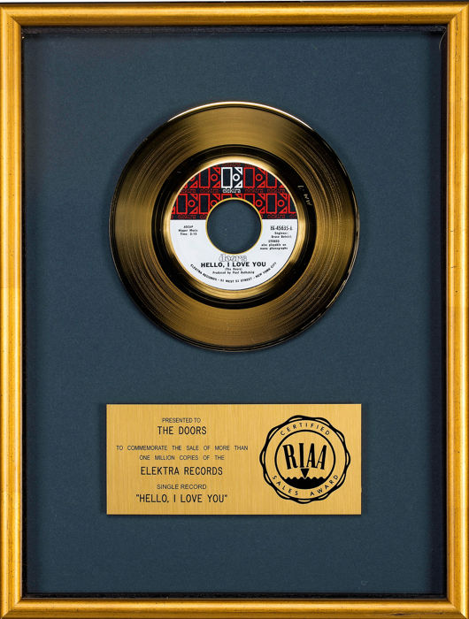Doors - Hello I Love You  - Presented to The Doors - Official RIAA award - 1979/1979