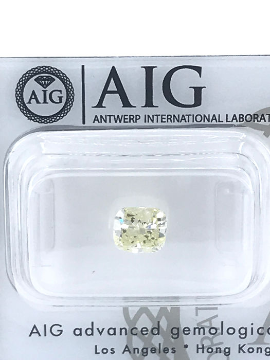Diamante - 1.01 ct - Cuscino - fancy intens yellow - SI2