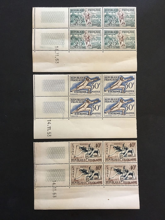 Frankrijk - 1953-1954 dated corners 961 to 965 and 970 to 974
