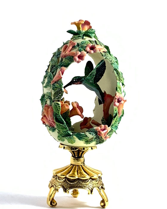 "Franklin Mint, House of Faberge  - ""Jewels in the garden"" floral hummingbird egg Limited Edition - Hars/polyester, met een klein juweel in een bloem en vergulde accenten, Porselein"