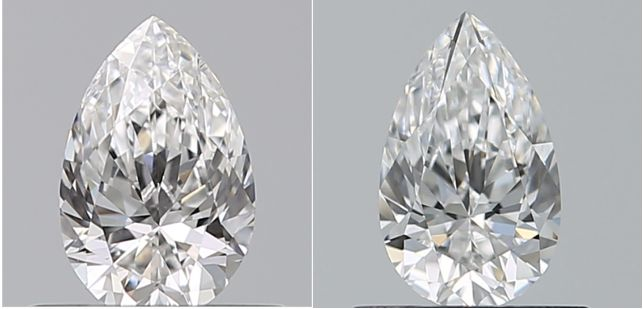 2 pcs Diamonds - 0.77 ct - Pear - D (colourless), E - VVS1