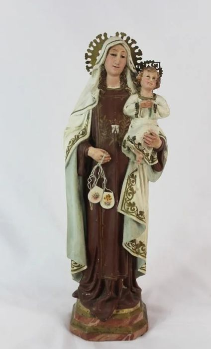 Sculpture, Virgin of Carmen with child Jesus - Plaster - Late 19th century