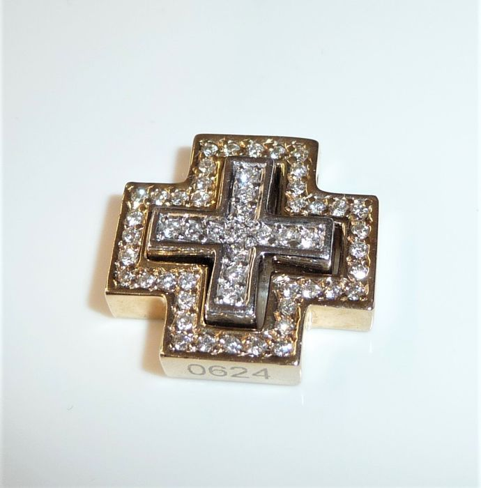 "CHRIST - 14 karaat Geel goud, Witgoud - Double Cross ""2 in 1"", Hanger 0,75 ct. ruiten"