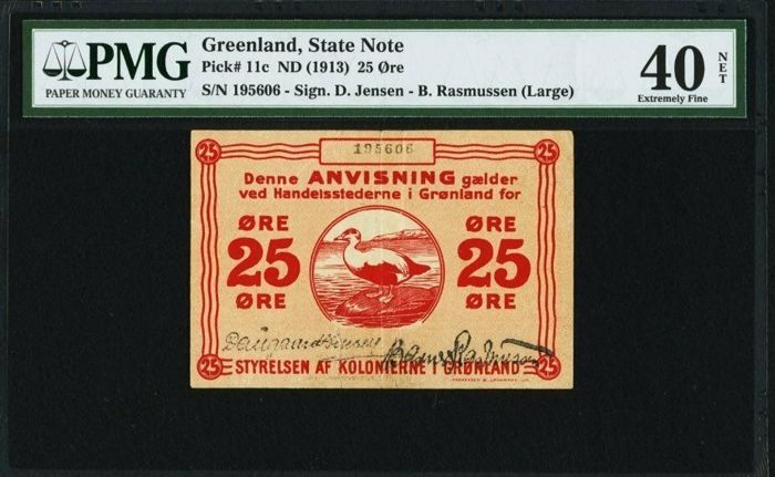 Greenland - Greenland State Note  - 25 Ore 1913 - Pick 11c  - PMG 40 Extremely Fine