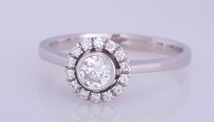 14 kt. White gold - Ring - 0.53 ct Diamond - Diamond