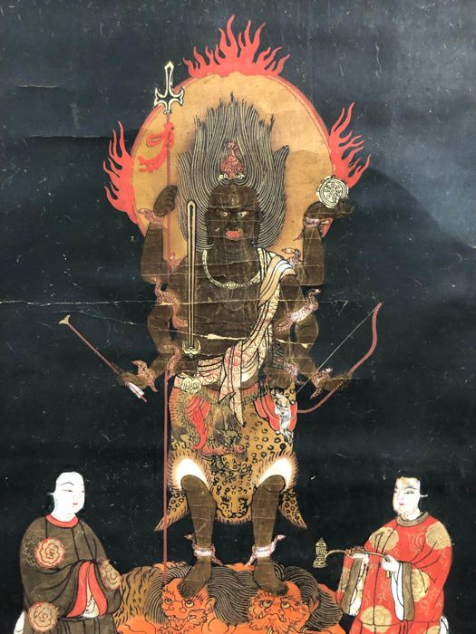 Hanging scroll - Paper and wood shafts - Aizen myoo 愛染明王 Esoteric Buddhist God of Love and his attendants - Japan - mid 20th century
