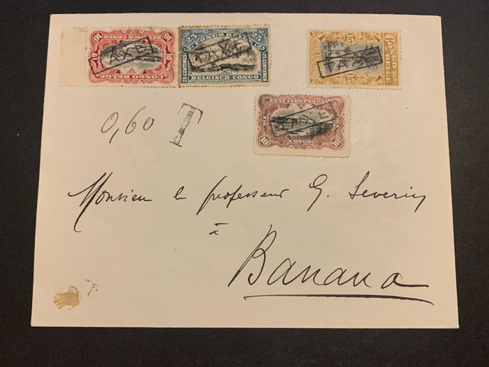 Belgian Congo 1912 - Belgian-Congo Postage due stamps on circulated letter TAXE Type IV to Banana - RARE - OBP / COB TX32,33,34,17