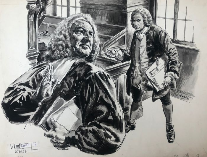 Cecil Langley Doughty  - Original, monochrome watercolour and ink illustration - Bach Music Composer  (1962)