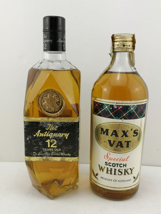 Antiquary 12 year old De Luxe & Max's Vat Special Old Scotch Whisky - b. 1960/70s - 75cl - 2 flessen