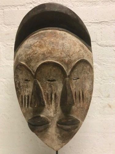 Twin Mask - Hout - Impressive african tribal used - Ngil Fang - Gabon