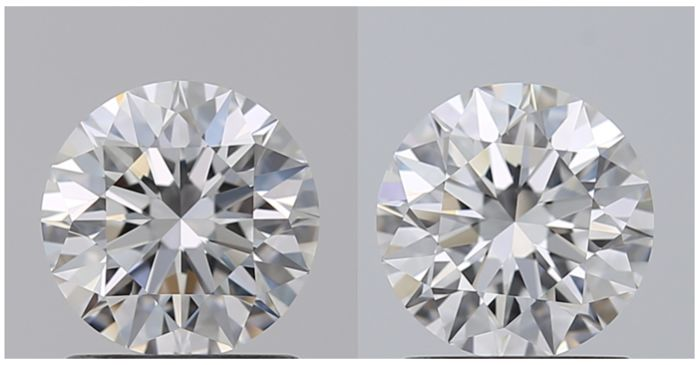 2 pcs Diamantes - 1.00 ct - Redondo - D (incoloro) - IF (Inmaculado)