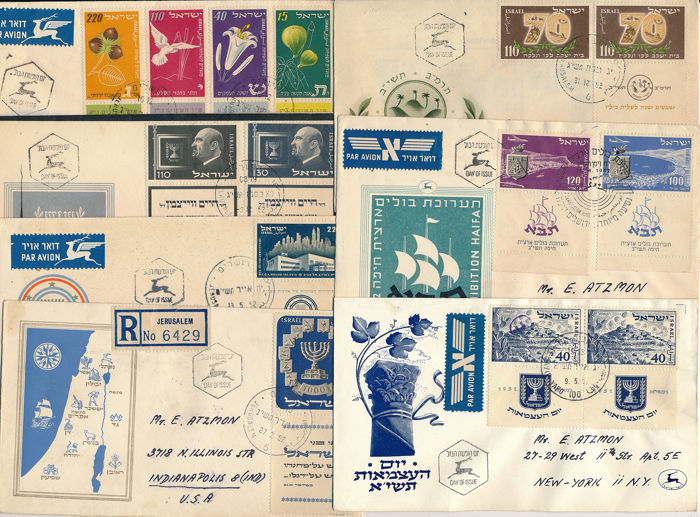 Israël 1953/1951 - Better FDCs, all with complete tab and genuinely circulated to New York dabei Michel Nr. 66