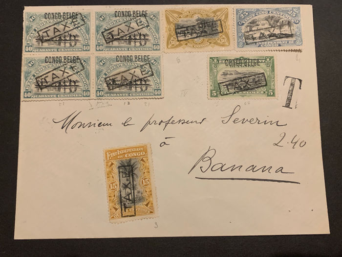 Belgian Congo 1912 - Belgian-Congo Postage due stamps on circulated letter TAXE Type IV to Banana - RARE - OBP / COB TX3,4,6,17,21