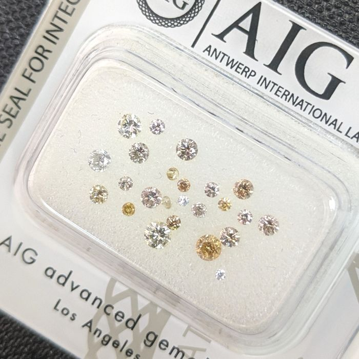 24 pcs Diamonds - 0.52 ct - Brilliant - Fancy Mix Colors - No Reserve Price, SI1, SI2, VS1, VS2, VVS1, VVS2