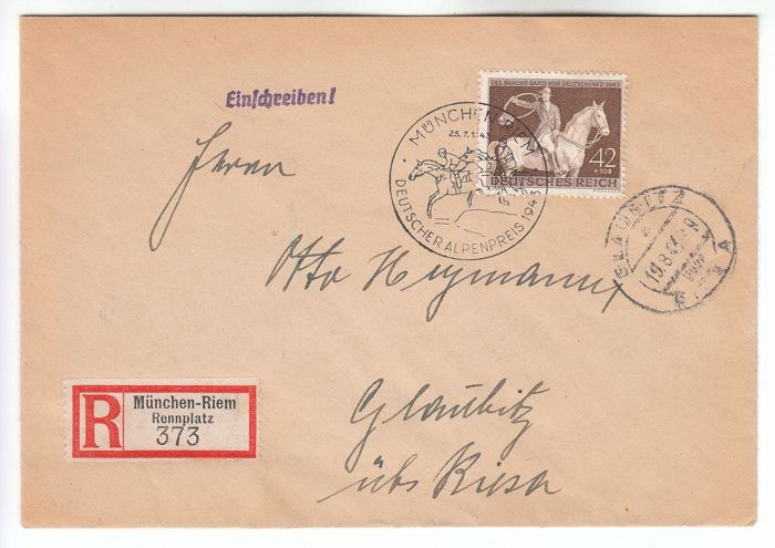 """Duitse Rijk 1943 - """"Braunes Bend"""" (Brown Ribbon Gallop Races) on rare pre-FDC first day cover - cancelled 2 days before - Michel 854 FDC Vor-Ersttag"""