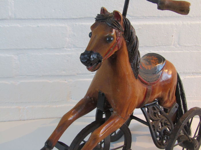 Antique Horse Cast iron tricycle, handmade. - Wood, cast iron