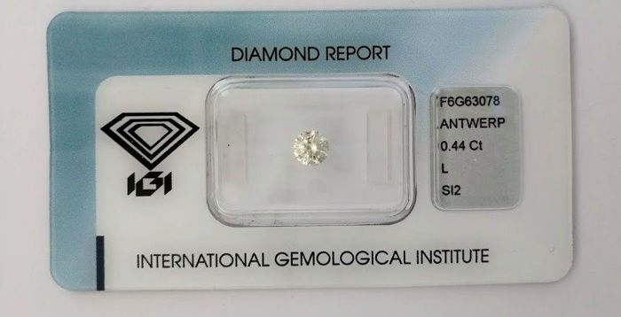 1 pcs Diamant - 0.44 ct - Brillant - L - SI2