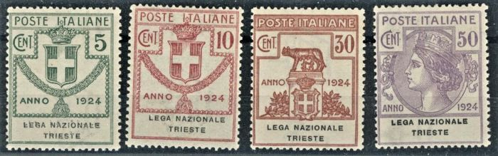 Reino de Italia 1924 - State-controlled organisations - Lega Naz. Trieste, complete set of 4 values - Sassone N. S2908