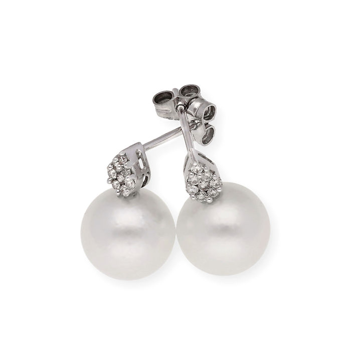 18 kt. South sea pearl, White gold - Earrings - 0.40 ct Diamond