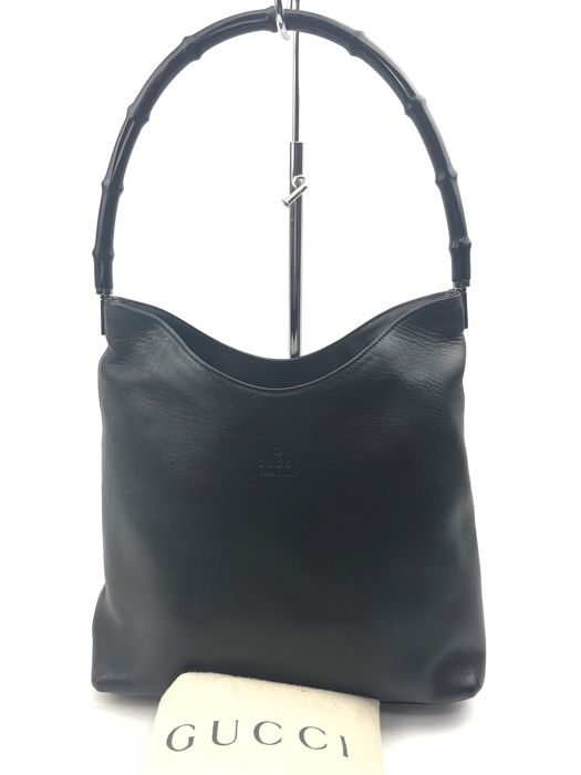 Gucci - Black  Bamboo Handle  Leather Tote bag