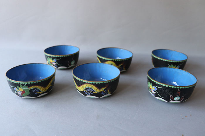 Veel Bowl ´ s (6) - Cloisonné emaille - China - Midden 20e eeuw