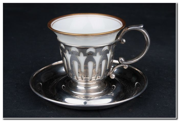 Cup - .925 silver, Porcelain - North America - First half 20th century