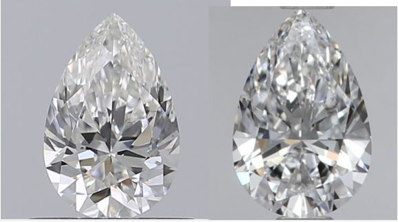 2 pcs Diamanten - 1.00 ct - Birne - D (farblos), E - SI1, VS2