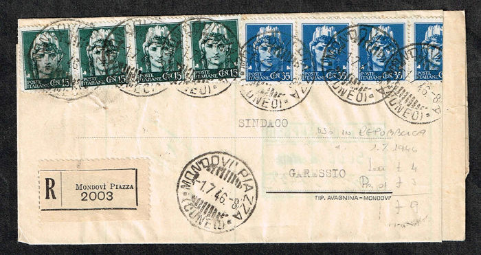 Italy Kingdom / Lieutenancy 1916/1946 - Lot of 3 letters with emergency revenue stamps, Imperial multiple in late use