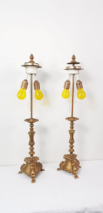 Lamp base with double light function - 6 kilos! - Queen Anne - Bronze / brass